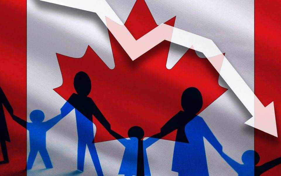 Canada flag background of the arrow chart down. Decrease in the number of the country's rape.